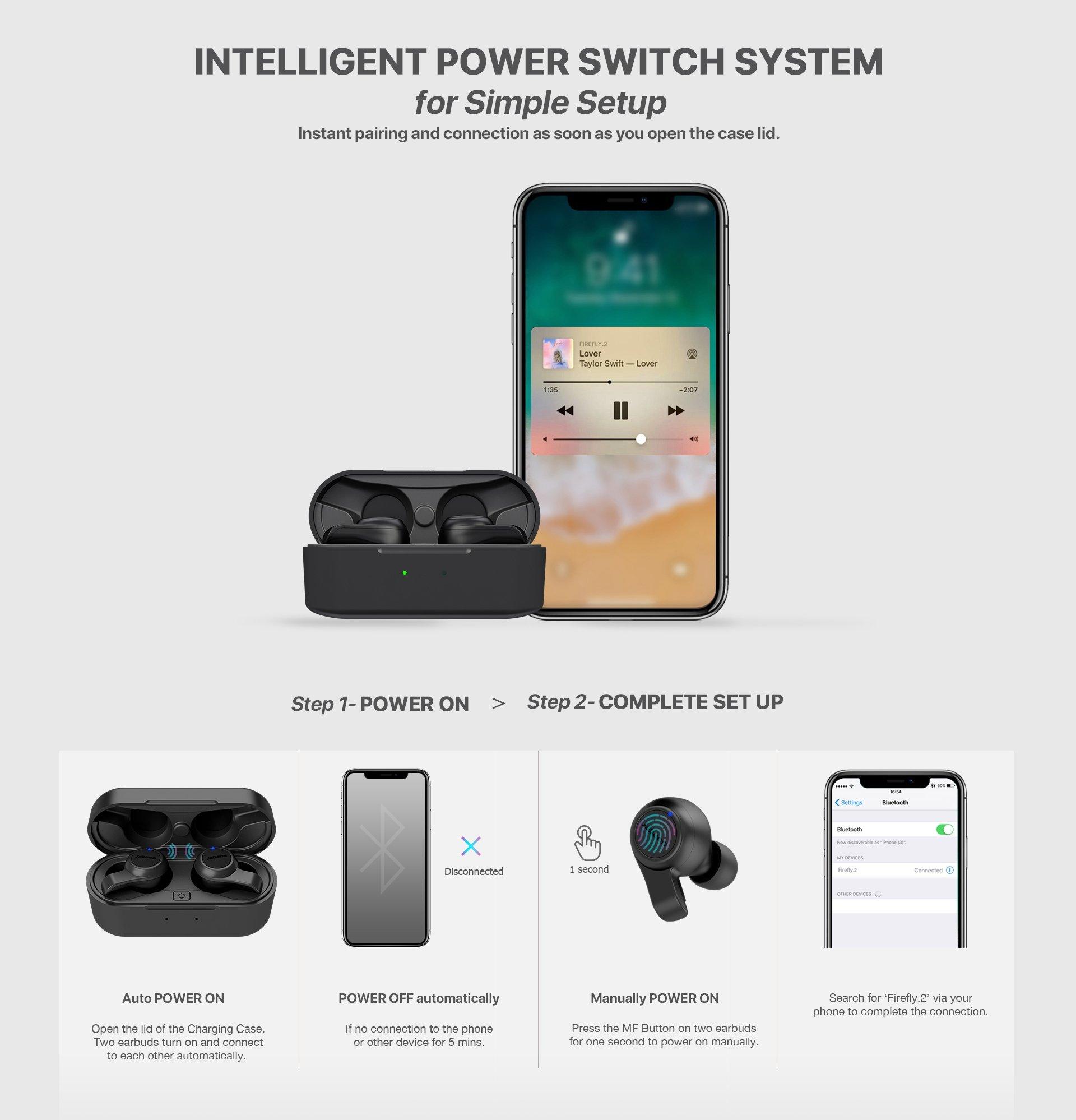 Jabees Firefly 2 Black Touch TWS Earbuds Waterproof & Dustproof IPX7 11